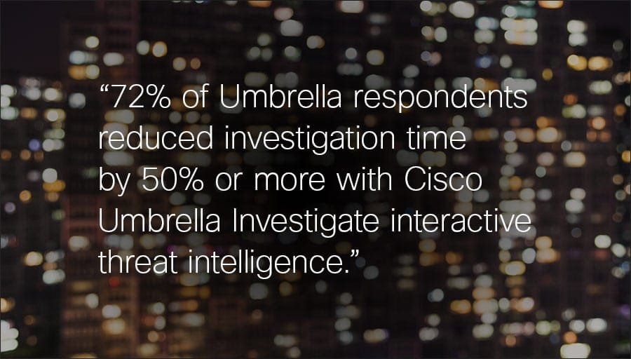 Quote:72% of Umbrella respondents reduced investigation time by 50% or more with Cisco Umbrella Investigate interactive threat intelligence